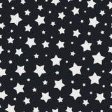 Цвет безшовной картины звезды рождества белый на черной предпосылке для элемента украшения рождества Стоковые Изображения