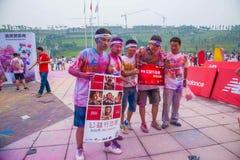 Цвет выставочного центра Чунцина, который побежали в молодые люди Стоковые Фото