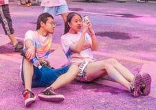 Цвет выставочного центра Чунцина, который побежали в молодые люди Стоковое фото RF