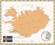 Цвет года сбора винограда карты Исландии Стоковые Фотографии RF
