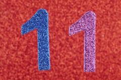 Цвет 11 голубой фиолетовый над красной предпосылкой Anniversa Стоковое Изображение