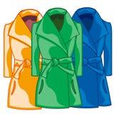 Цвет женственного пальто ткани голубой, зеленый, и красный также вектор иллюстрации притяжки corel бесплатная иллюстрация