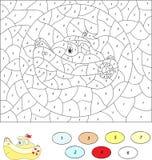 Цвет игрой номера воспитательной для детей Корабль шаржа Стоковые Изображения RF