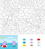 Цвет игрой номера воспитательной для детей Фиолетовое заплывание дракона Стоковое Изображение RF