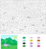 Цвет игрой номера воспитательной для детей Фиолетовое playind дракона Стоковое фото RF