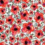 Цвет и красный цвет безшовного орнамента акварели цветков зеленый цветут Иллюстрация вектора
