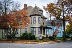 Цвет и дом осени в Easton, Мэриленде Стоковая Фотография RF