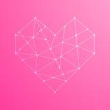 Цвет иллюстрации значка формы сердца белый, ход плана точки Стоковая Фотография