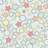 Цвет картины звезд и шариков вектора безшовный Стоковая Фотография