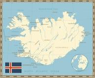 Цвет карты Исландии ретро Стоковое Фото