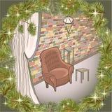 Цвет кирпичной стены просторной квартиры рамки 2 сосны Стоковая Фотография