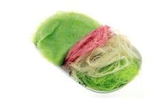 Цвет конфеты хлопка белый, розовый и зеленый Стоковое Фото