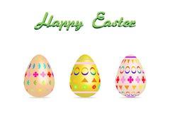 Цвет краски картины пасхального яйца 3 на белой иллюстрации вектора предпосылки с космосом экземпляра добавляет текст Стоковые Изображения