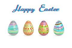 Цвет краски картины пасхального яйца 3 на белой иллюстрации вектора предпосылки с космосом экземпляра добавляет текст Стоковое фото RF