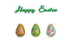 Цвет краски картины пасхального яйца на белой иллюстрации вектора предпосылки с космосом экземпляра добавляет текст Стоковая Фотография RF