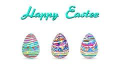 Цвет краски картины пасхального яйца 3 на белой иллюстрации вектора предпосылки с космосом экземпляра добавляет текст Стоковые Изображения RF
