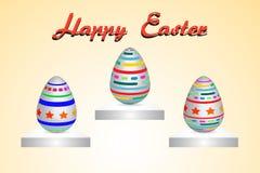 Цвет краски картины пасхального яйца 3 на желтой иллюстрации вектора предпосылки с космосом экземпляра добавляет текст Стоковые Фотографии RF