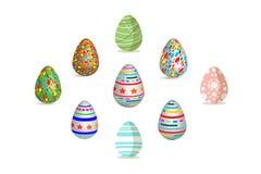 Цвет краски картины пасхального яйца установленный с различной текстурой на белой иллюстрации вектора Стоковые Фотографии RF