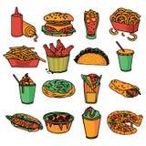 Цвет меню фаст-фуда установленный значками Стоковая Фотография