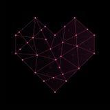 Цвет пинка иллюстрации значка формы сердца, дизайн хода плана точки Стоковая Фотография