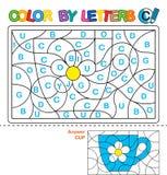 Цвет письмами Учить прописные буквы алфавита Головоломка для детей Пометьте буквами c Кубок Дошкольное образование иллюстрация штока