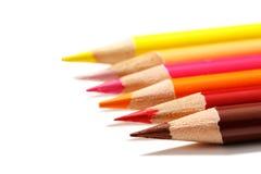 цвет предпосылки покрасил изолированные карандаши карандаша белым Стоковые Фото