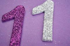 Цвет пурпура 11 серебряный над фиолетовой предпосылкой аннексом Стоковая Фотография RF