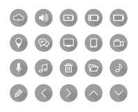 Цвет плоского значка серый, плоские значки, значки установил, вектор значков Стоковая Фотография