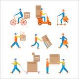 Цвет работника доставляющего покупки на дом установленный Стоковые Изображения RF