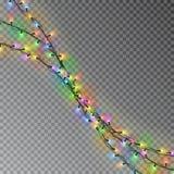 Цвет рождества освещает строку Прозрачное украшение влияния изолированное на темной предпосылке реалистическо бесплатная иллюстрация