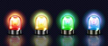 Цвет сигнала тревоги сирены освещает иллюстрацию вектора 3D иллюстрация вектора