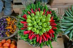 Цвет сладостного перца зеленый и красный Стоковые Изображения RF