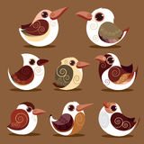 Цвет собрания птицы установленный доисторический Стоковое Изображение