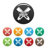Цвет современных значков магазина vape установленный бесплатная иллюстрация