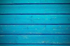 Цвет старой предпосылки текстуры деревянной доски яркий голубой Стоковая Фотография