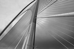 Цвет стального канатного моста черно-белый Стоковые Фото