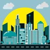 Цвет умной предпосылки города ровный иллюстрация штока