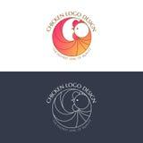 Цвет цыпленка логотипа и линейное Стоковое Изображение