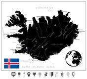 Цвет черноты карты Исландии и плоские указатели карты Стоковое Фото