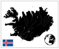 Цвет черноты карты Исландии отсутствие текста Стоковые Фотографии RF