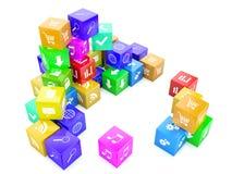 цвет 3d cubes иллюстрация Стоковые Изображения RF