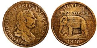 Цейлон 1815, 2 stivers, король Джордж III, обратный слон Стоковое Изображение