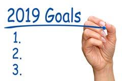 2019 целей и контрольный списоок стоковое фото rf
