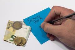 Цели лета планировать для отключения лета сход денег сочинительство руки на примечании стоковая фотография rf