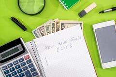 Цели на 2018, доллар, лоток и калькулятор Стоковые Изображения