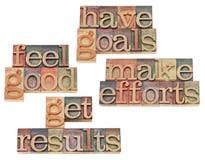 Цели, усилия, результаты, чувствуя хорош Стоковая Фотография RF