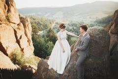 Целовать пар свадьбы оставаясь над красивым ландшафтом Стоковая Фотография