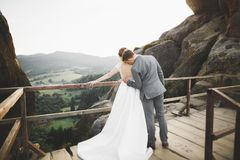 Целовать пар свадьбы оставаясь над красивым ландшафтом Стоковые Изображения