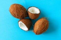 Целый и halfs кокосов на голубой предпосылке Взгляд сверху и c Стоковая Фотография RF