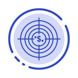 Цель, цель, дело, наличные деньги, финансовые, фонды, звероловство, линия значок голубой пунктирной линии денег иллюстрация вектора